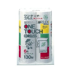 【お一人様1個限り特価】西日本衛材 ワンタッチ コアレス 130M×6ロール シングル 再生紙100% トイレットペーパー|himejiryutsuu