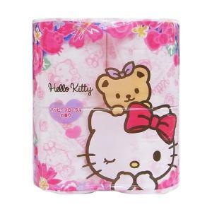 【お一人様1個限り特価】ハローキティ プリントトイレットペーパー ハッピーフローラルの香り ダブル 4ロール|himejiryutsuu