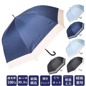 日傘 完全遮光100% 長傘 ドーム型 ジャンプ式 耐風 晴雨兼用 UVカット加工付 6368/6367|himeka-wa-samue