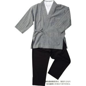 作務衣 女性 樹亜羅-一杢 綿100% 格子グレー いろどり-2|himeka-wa-samue