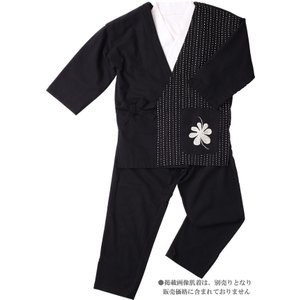 作務衣 女性 樹亜羅-一杢 綿100% 黒に白刺し子 いろどり-3|himeka-wa-samue