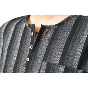 甚平 ヘンリーシャツ メンズ JIN しじら織り ロングパンツ 上下セット M/L/LL/3L/4L サンキューパパセット himeka-wa-samue 14