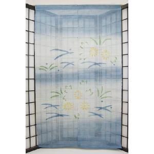 暖簾-のれん 麻100% 花横ぼかし紺  n-216|himeka-wa-samue