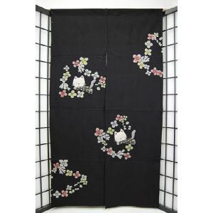 暖簾-のれん 綿100% 福猫黒 n-115 himeka-wa-samue