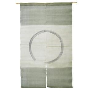 暖簾 のれん 麻100% 横段円相緑 n-432|himeka-wa-samue