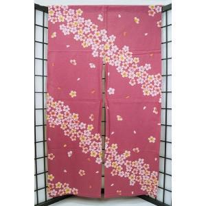 のれん ロング 暖簾 和風 綿100% 舞桜ピンク n-606 himeka-wa-samue