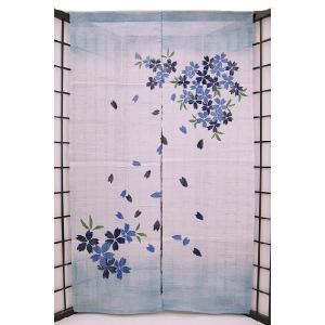 暖簾(のれん) 麻100% 葉桜ぼかし紺 n-201 himeka-wa-samue