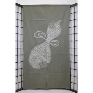 暖簾-のれん 綿100% ひょうたん絞り 灰  n-74|himeka-wa-samue
