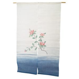 暖簾-のれん 麻100% 椿紺ぼかし  n-1018|himeka-wa-samue