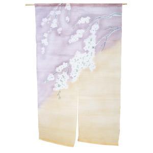 暖簾-のれん 麻100% 桜紫ぼかし n-1025|himeka-wa-samue