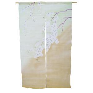 暖簾-のれん 麻100% 桜緑ぼかし n-1026|himeka-wa-samue