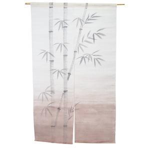 暖簾-のれん 麻100% 竹茶ぼかし n-1029の写真