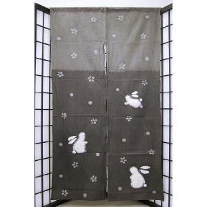 暖簾-のれん 絞り 綿100% 花にうさぎ150-灰  n-162|himeka-wa-samue