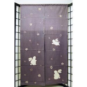 暖簾-のれん 絞り 綿100% 花にうさぎ150-ワイン  n-163|himeka-wa-samue