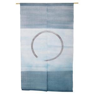 暖簾-のれん 麻100% 横段円相紺  n-400|himeka-wa-samue