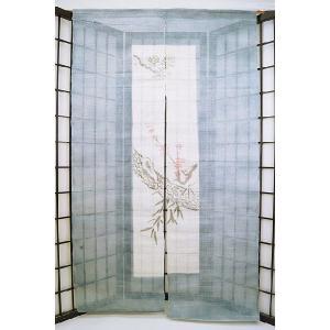 暖簾-のれん 麻100% 松竹梅ブルー n-440|himeka-wa-samue