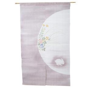 暖簾-のれん 麻100% 半月花うさぎ紫 n-442|himeka-wa-samue