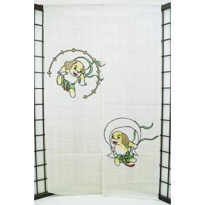 暖簾-のれん 麻100% 犬の神様  n-670|himeka-wa-samue
