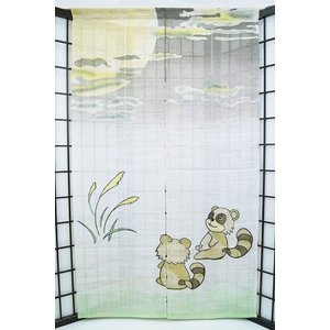 暖簾-のれん 麻100% 月見かわたぬ  n-671|himeka-wa-samue