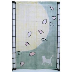 暖簾-のれん 麻100% 月下美猫  n-672|himeka-wa-samue
