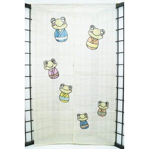 暖簾-のれん 麻100% むかえる  n-676|himeka-wa-samue