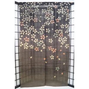 暖簾-のれん 麻100% 夜桜A灰黒  n-682|himeka-wa-samue