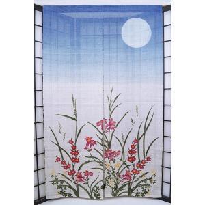 暖簾-のれん 麻100% 青白ぼかし花  n-687|himeka-wa-samue