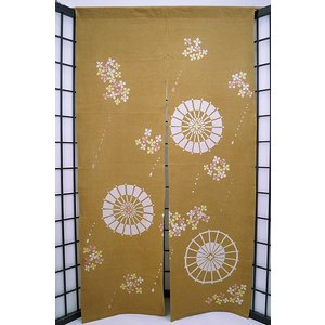 暖簾-のれん 綿100% あじさいに傘金茶 n-900|himeka-wa-samue