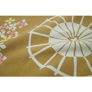 暖簾-のれん 綿100% あじさいに傘金茶 n-900|himeka-wa-samue|02