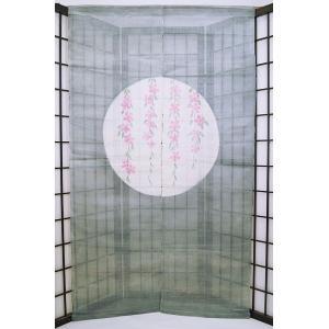 暖簾-のれん 麻100% 柳桜  n-917 himeka-wa-samue