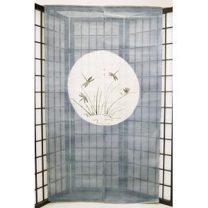 暖簾-のれん 麻100% 月にすすきトンボ  n-953|himeka-wa-samue
