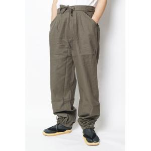 作務衣 パンツ 四季-作務衣パンツ-綿100% 灰緑 S/M/L/LL|himeka-wa-samue