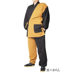 作務衣 冬用 スラブニット織り-裏フリース中綿入り作務衣 さむえ S〜7Lサイズ himeka-wa-samue 11