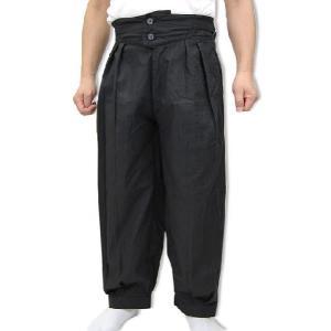与一  作務衣ゆったりパンツ 黒|himeka-wa-samue