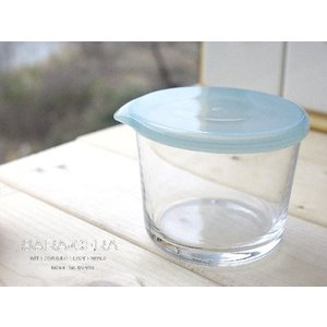 グラス ガラス 3個セット つくおき 保存容器 テーブル密封パック ブルー 〔お取り寄せ商品〕