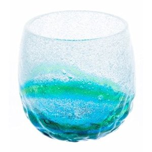 グラス 涼やか琉球ガラス 泡でこたるグラス 水色×緑