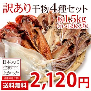 干物 沼津 訳あり セット 4種8〜12枚入 約1.5kg  送料無料 冷凍 サバ あじ 金目鯛 ほっけ エボ鯛 イカ サンマ カマス イワシ 赤魚 ニシン 詰め合わせ|himono-ya