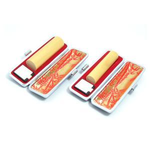 印鑑 実印 はんこ本つげ 本柘2本セットケース付 印鑑セット18mm/15mm 実印 銀行印 認印 男性 女性 化粧箱付も可 日用品|himurokobo