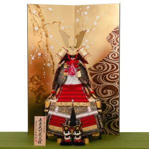 ■商品概要[横幅76×奥行60×高さ112cm]  赤糸威大鎧(あかいとおどしおおよろい) 鮮やかな...