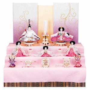 雛人形 三五 正絹 ピンク三段和紙屏風 収納台セット