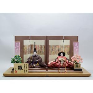 雛人形 親王飾り 産地岩槻 伝統工芸 高級 職人の技 コンパクト 「つかさ飾り」 優しいお顔 正絹着尺 #327132−5|hinanokoei