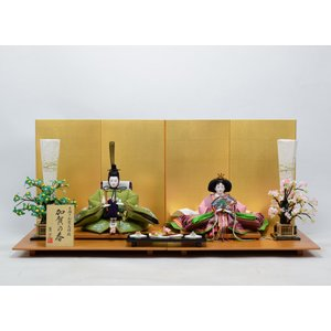 雛人形 【手描き加賀友禅雛】 ひな人形 親王飾り 「きずな飾り」 草色|hinanokoei