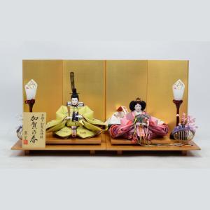 雛人形 【手描き加賀友禅雛】 ひな人形 親王飾り 「きずな飾り」 黄土|hinanokoei