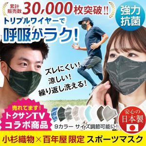 スポーツマスク 日本製 小杉織物 抗菌 夏用 マスク 洗える 大きめ メンズ ノーズワイヤー 洗える...