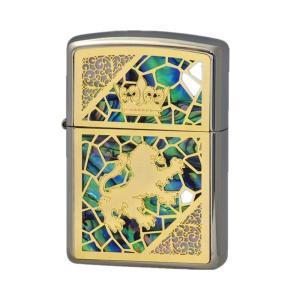 ZIPPO ジッポーライター  Combi Shell(C) GF シェル貼り 王冠 獅子 両面加工 プレゼント 贈り物|hinohikari-ii