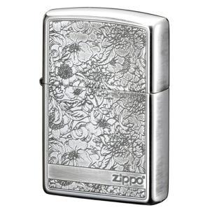ZIPPO ジッポー ライター ピオニー  SV (銀モデル) 牡丹花デザイン 銀イブシ 両面加工|hinohikari-ii