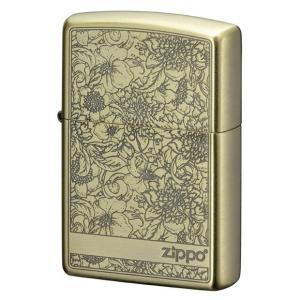 ZIPPO  ジッポー ライター ピオニー BS(真鍮モデル) 牡丹花デザイン 真鍮イブシ 両面加工 贈り物 オイルライター|hinohikari-ii
