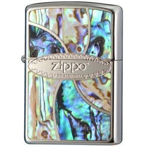 ZIPPO  ジッポーライター シェル 貝 メタル貼り Shell Inlay 貝象嵌加工 ブラッシュクロームベース|hinohikari-ii