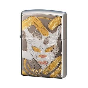 ZIPPO ジッポーライター 電鋳板 化け猫 和柄 プレゼント 贈り物 日本の妖怪  オイルライター|hinohikari-ii