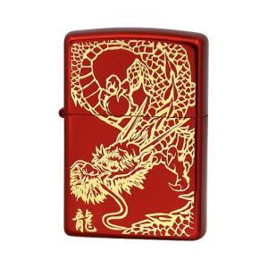 ZIPPO ジッポー ライター RED DRAGON (G)金サシ 片面エッチング レッドイオンコーティング オイルライター|hinohikari-ii
